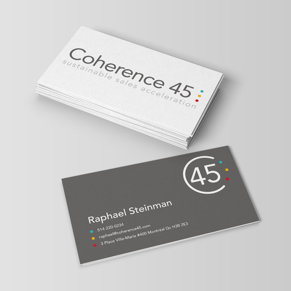 Coherence 45 business card front and back